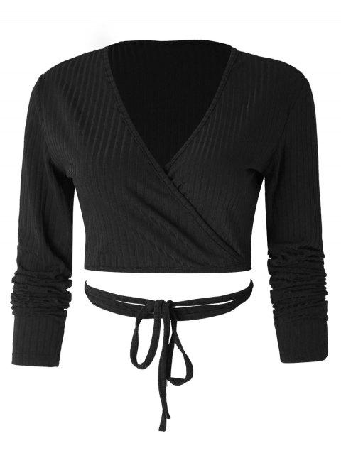 Long Sleeve Wrap Crop Top - BLACK XL