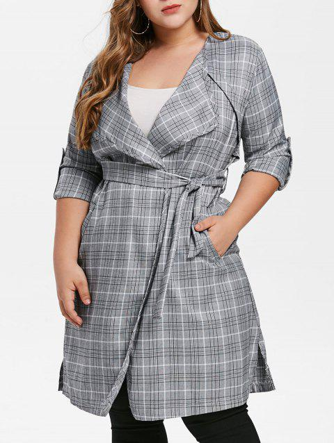Plus Size Plaid Belted Slit Coat - multicolor L