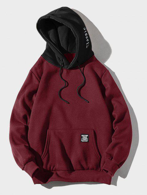 Contrast Letter Patch Detail Pouch Pocket Fleece Hoodie - RED WINE XL