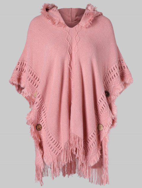 Fringed Hooded Sweater Poncho - PINK L