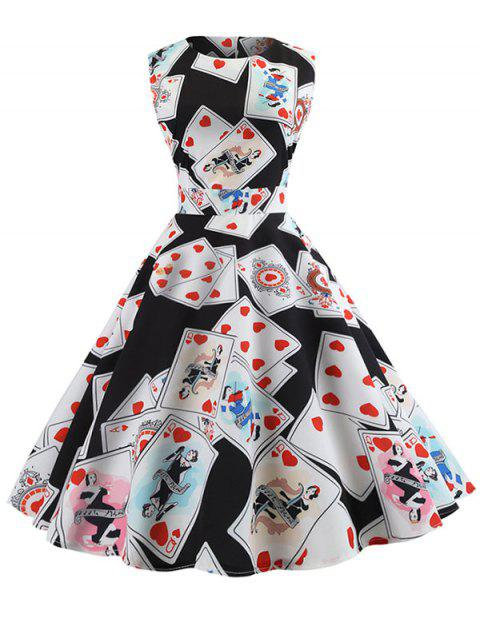 Vintage Poker Print Fit and Flare Dress - BLACK XL