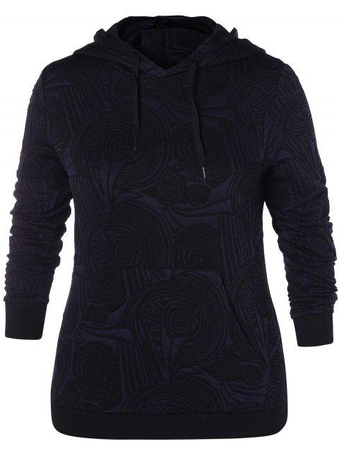Plus Size Front Pocket Floral Print Hoodie - DEEP BLUE L