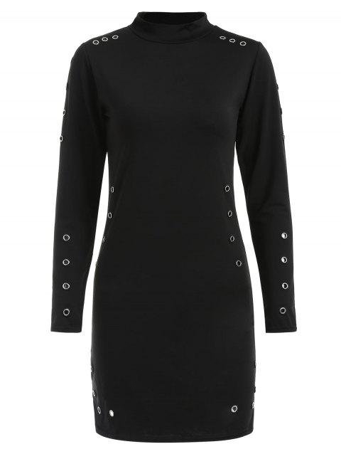 Grommet High Neck Mini Dress - BLACK M