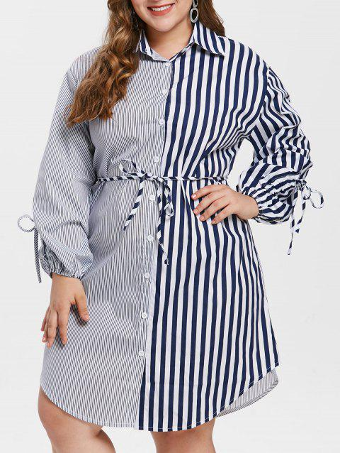 Plus Size Stripe Shirt Casual Dress - multicolor 3X