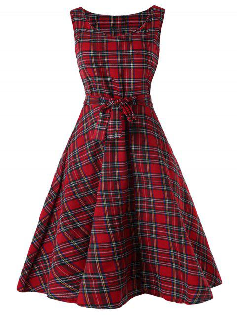 Sleeveless Tartan Skater Dress - CHERRY RED M