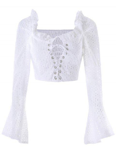 Lace Up Hollow Out Cropped Blouse - WHITE M