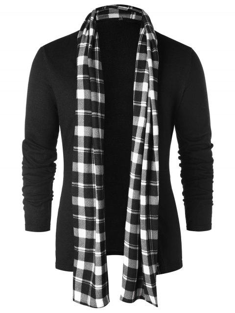 Checked Print Open Front Longline Cardigan - BLACK L