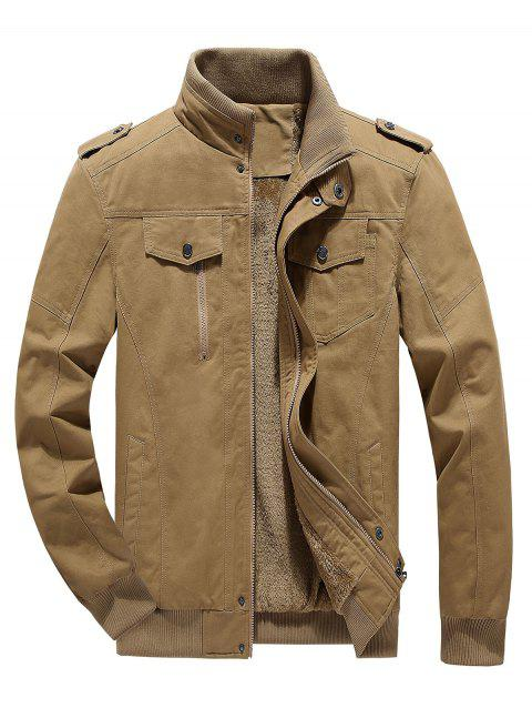 Fluffy Lined Warm Stand Collar Pockets Jacket - KHAKI XS