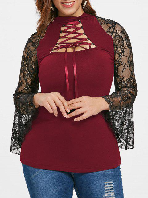Plus Size Sheer Lace Lacing T-shirt - RED WINE L