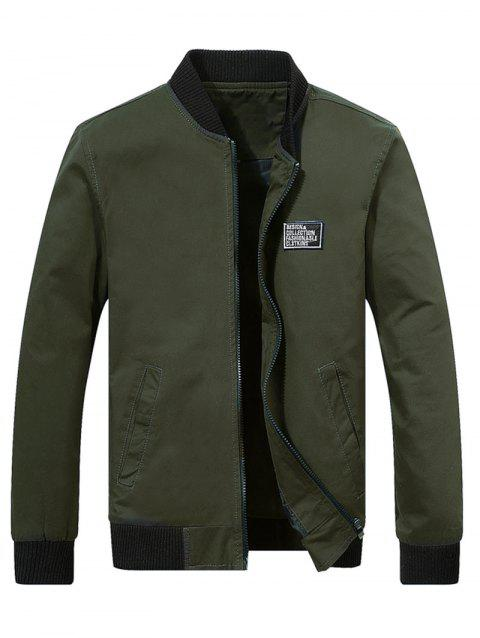 Casual Chest Applique Zipper Bomber Jacket - ARMY GREEN S