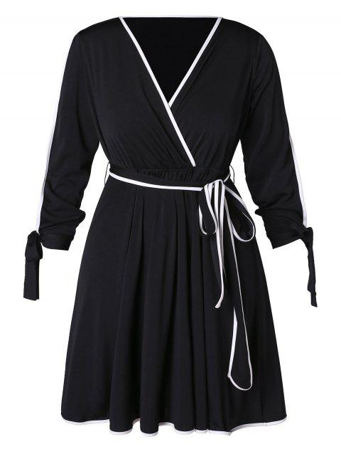 Plus Size Contrast Trim Surplice Dress - BLACK 3X
