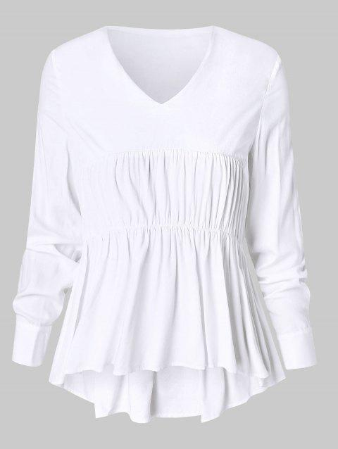 Plus Size Smocked Peplum Blouse - WHITE 4X