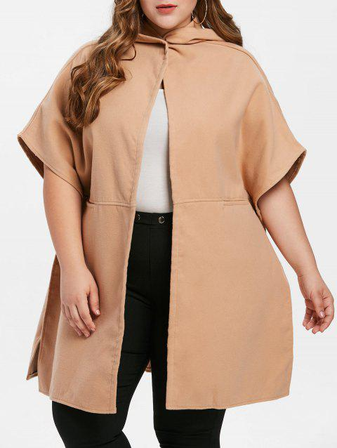 Plus Size Dolman Sleeve Hooded Coat - CAMEL BROWN 3X