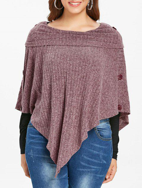 Plus Size Ribbed Buttons Knit Cape with T-shirt - VIOLA PURPLE 5X