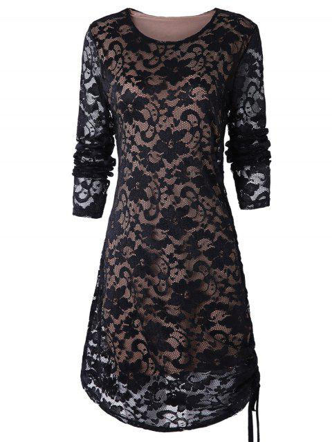 Tie Side Long Sleeve Lace Dress - BLACK M