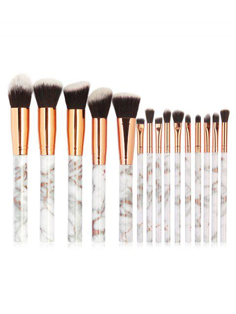 15 Pcs Marble Handles Synthetic Fiber Hair Cosmetic Brush Collections - PLATINUM