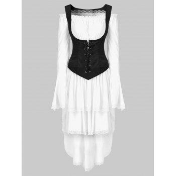 Long Sleeve Retro Layered Asymmetrical Corset Dress