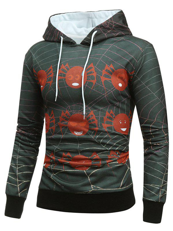 Halloween Spider Web Drawstring Hoodie - multicolor 2XL