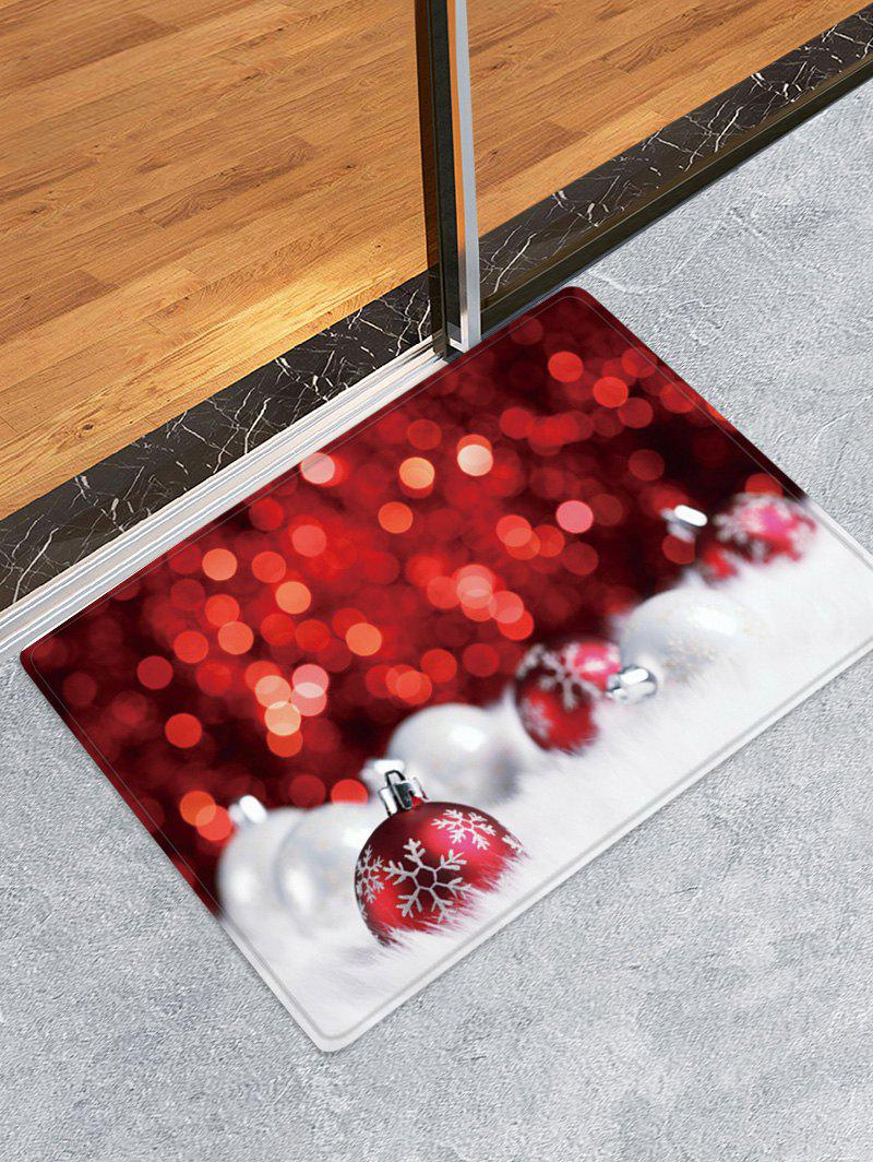 Christmas Balls Dots Pattern Anti-skid Water Absorption Area Rug - RED WINE W24 X L35.5 INCH