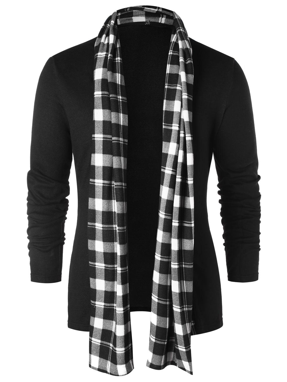 Checked Print Open Front Longline Cardigan - BLACK S