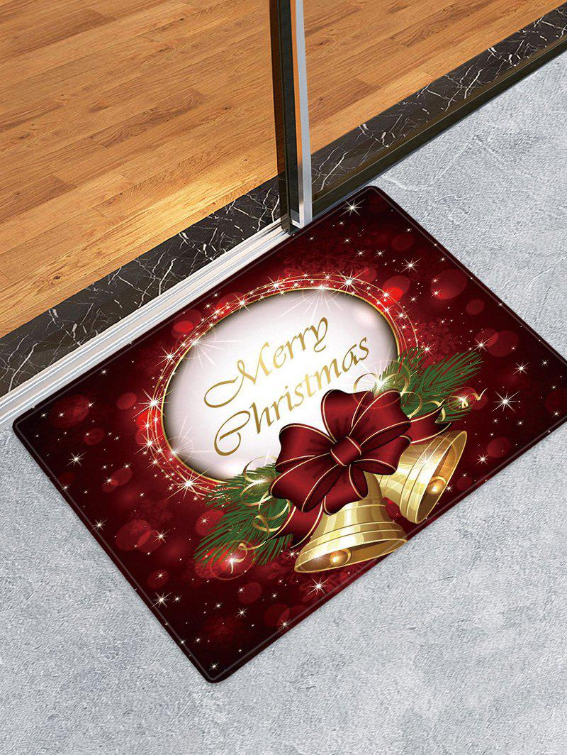 Christmas Bowknot Bells Pattern Anti-skid Water Absorption Area Rug - RED WINE W24 X L35.5 INCH