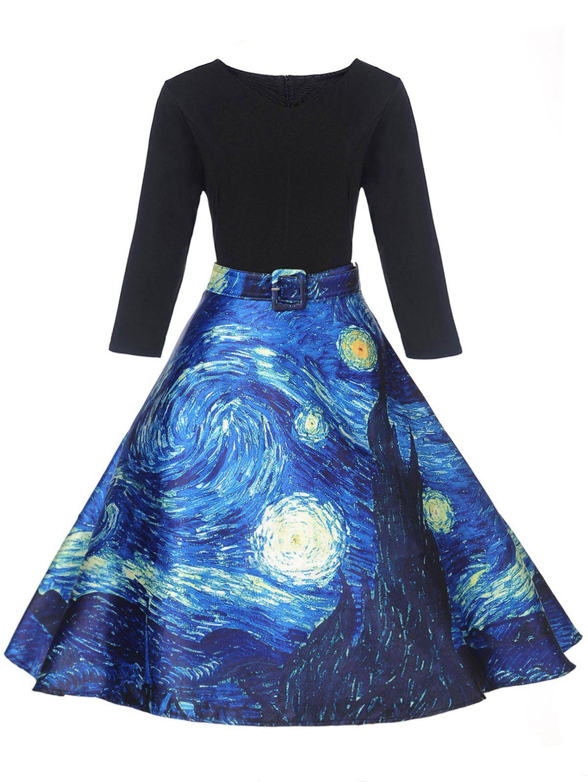 Retro Starry Sky Print Pin Up Dress - BLACK XL