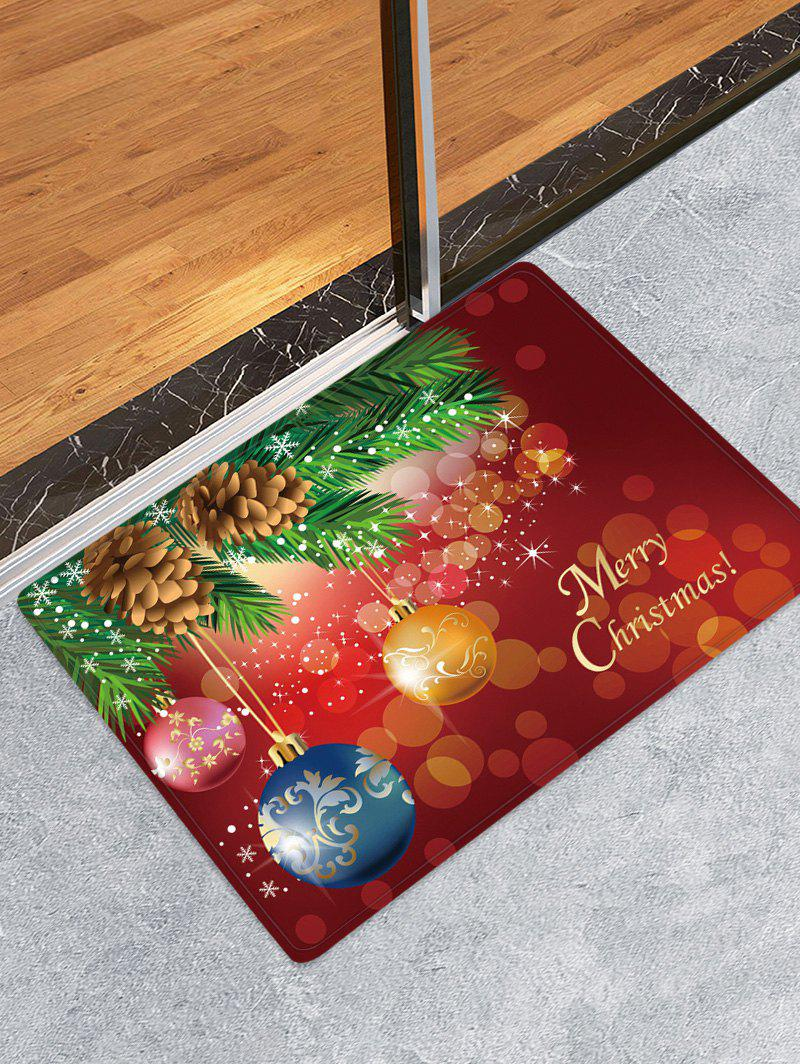 Christmas Tree Balls Pattern Anti-skid Area Rug - multicolor W24 X L35.5 INCH