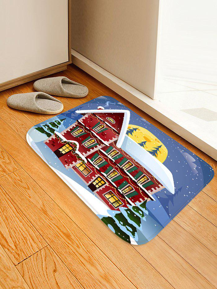 Christmas Night House Pattern Water Absorption Area Rug - multicolor W16 X L24 INCH