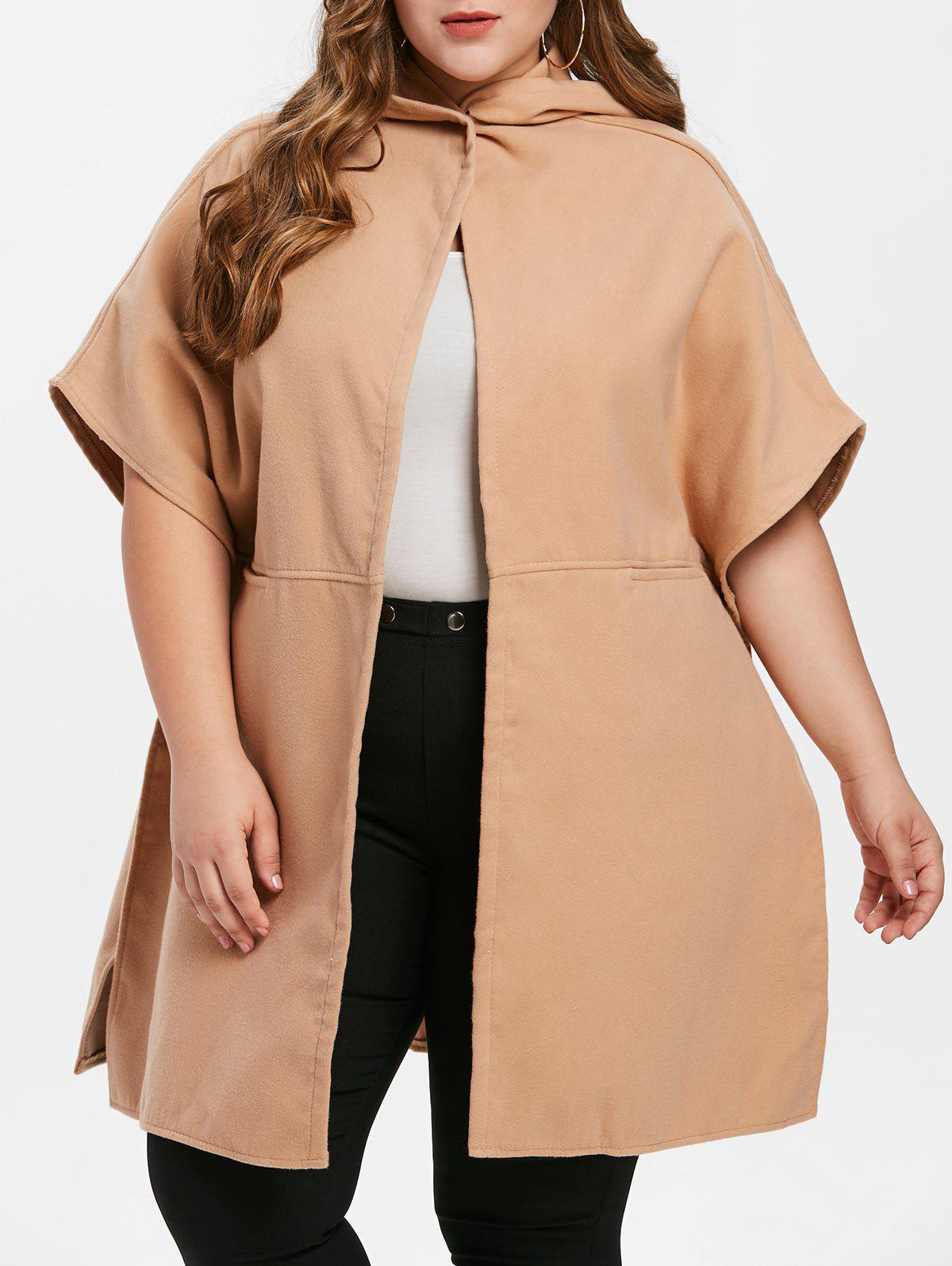 Plus Size Dolman Sleeve Hooded Coat