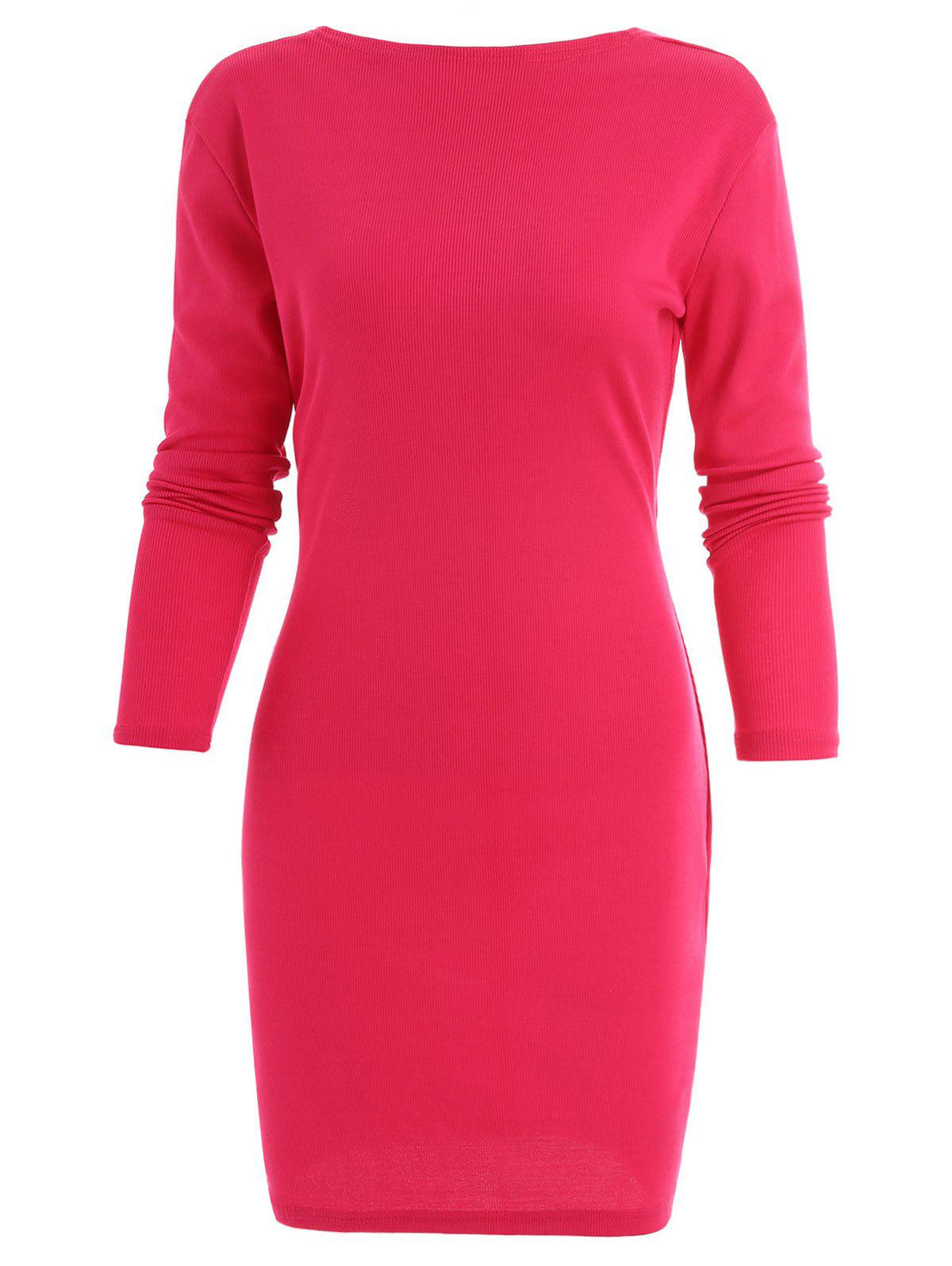Tied Cut Out Mini Bodycon Dress - ROSE RED L