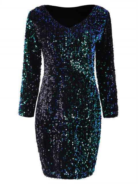 Long Sleeve Sequined Bodycon Club Dress - DEEP GREEN 2XL