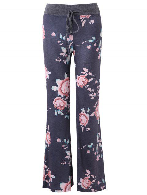 Wide Leg Floral Pants - multicolor XL