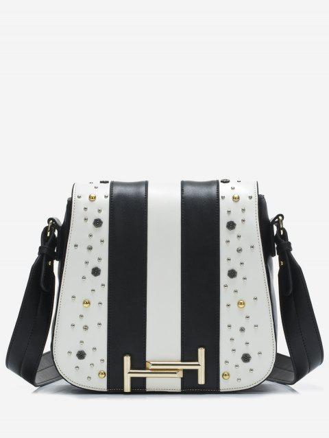Flap Striped Crossbody Bag with Studs - BLACK