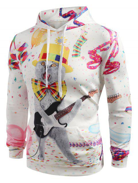 Playing Guitar Cat Print Casual Hoodie - WHITE L
