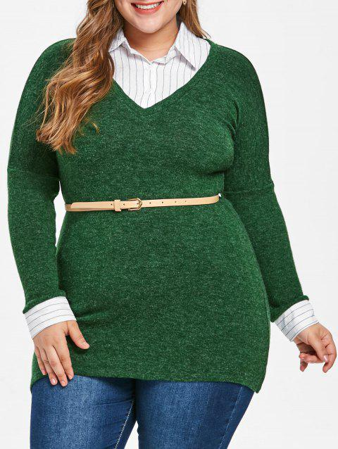 Plus Size Striped Panel Faux Two Piece Sweater - MEDIUM FOREST GREEN 4X