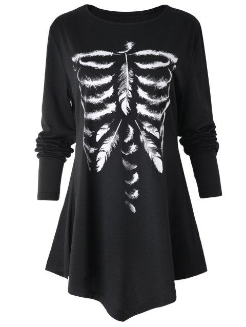 Long Sleeve Feather Skeleton Print T-shirt - BLACK XL