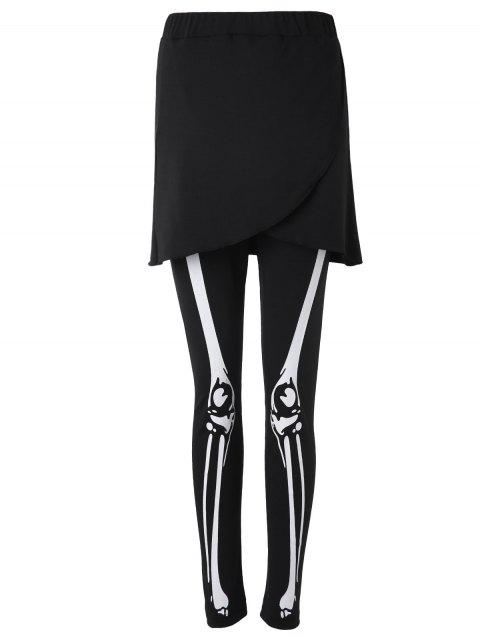 Skeleton Print Skirt Leggings - BLACK L