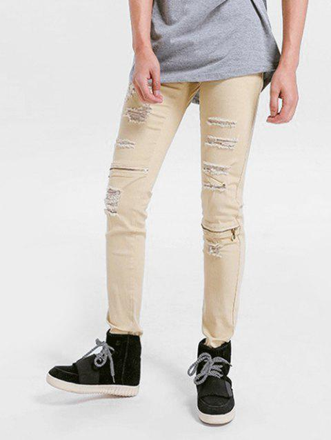 Zipper Embellished Skinny Ripped Jeans