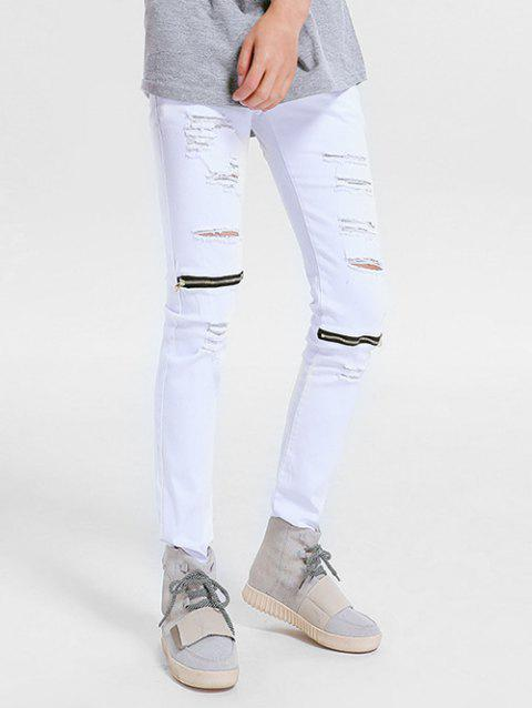 Zipper Embellished Skinny Ripped Jeans - WHITE 40