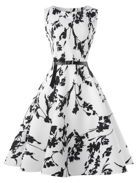 Retro Boat Neck Belted A Line Dress - WHITE M