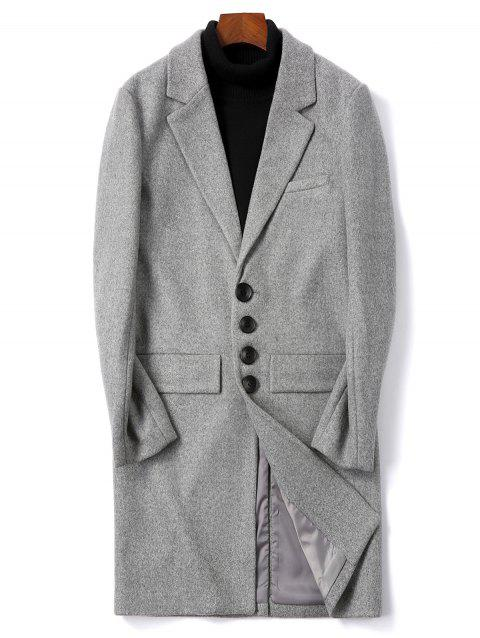 Solid Color Single Breasted Flap Pocket Woolen Coat - GRAY CLOUD S