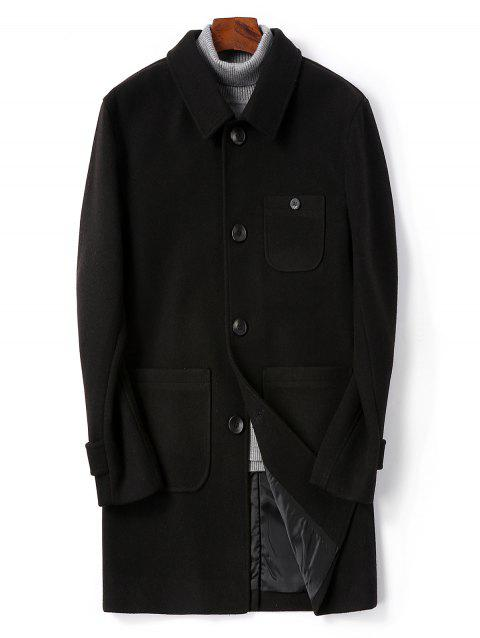 Single Breasted Back Split Woolen Coat - BLACK XS