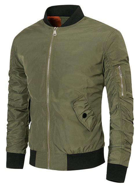 Sleeved Pocket Solid Color Jacket - ARMY GREEN XL