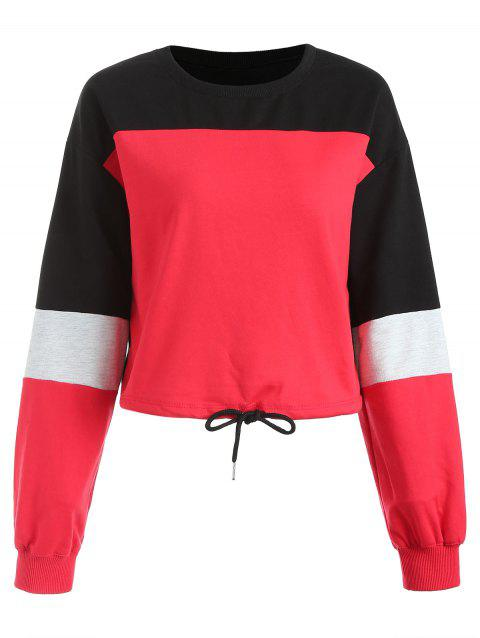 Sweat-shirt Court en Couleur Contrastée - Rouge XL
