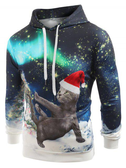 Looking Up Cat with Christmas Hat Print Casual Hoodie - multicolor XL
