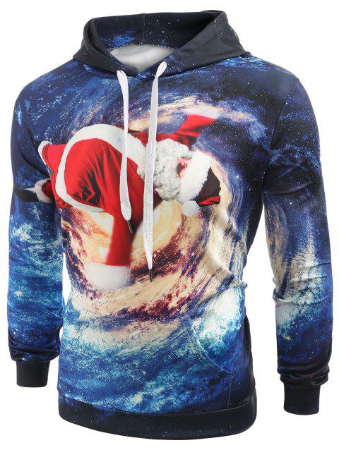 Tunnel Santa Claus Print Pullover Hoodie - multicolor XL