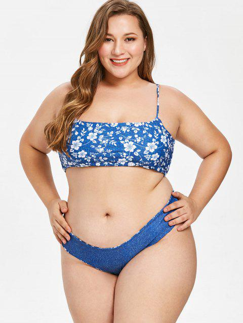 Plus Size Criss Cross Flower Bikini Set - BLUE 3X