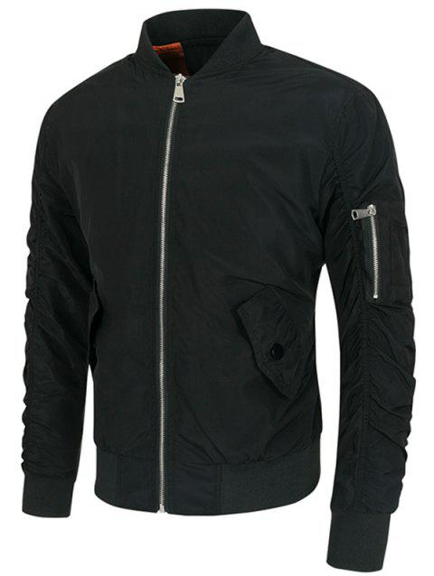 Sleeved Pocket Solid Color Jacket - BLACK XL