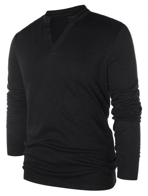 Solid Notch Neck Pullover Sweater - BLACK 2XL