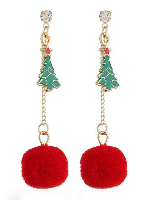 Christmas Tree Pom Pom Drop Earrings - multicolor